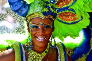 carnival 2012 paticipant in green and blue costum