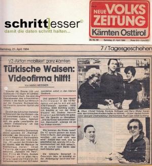 Spende nach einem fürchterlichen Unfalleiner Familie - Volkszeitung Kärnten/Austria 1984